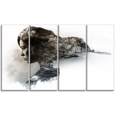Designart Stylish Woman And View Of Manarola Portrait Canvas Art Print - 4 Panels