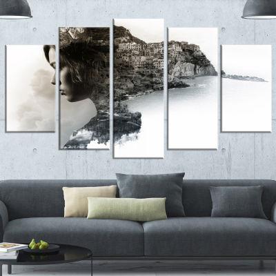 Design Art Stylish Woman And View Of Manarola Large PortraitCanvas Art Print - 5 Panels