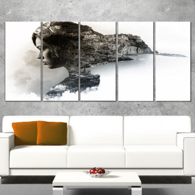 Designart Stylish Woman And View Of Manarola Portrait Canvas Art Print - 5 Panels
