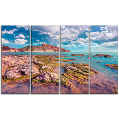 Designart Morning On The Giallonardo Beach Seashore Canvas Art Print - 4 Panels
