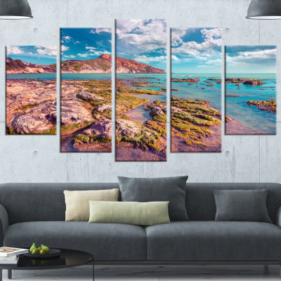Designart Morning On The Giallonardo Beach Seashore Wrapped Canvas Art Print - 5 Panels