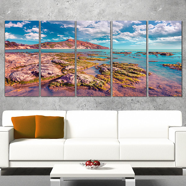 Designart Morning On The Giallonardo Beach Seashore Canvas Art Print - 5 Panels