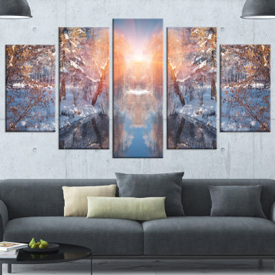 Beautiful Winter In City Park Landscape Wrapped Canvas Art Print - 5 Panels