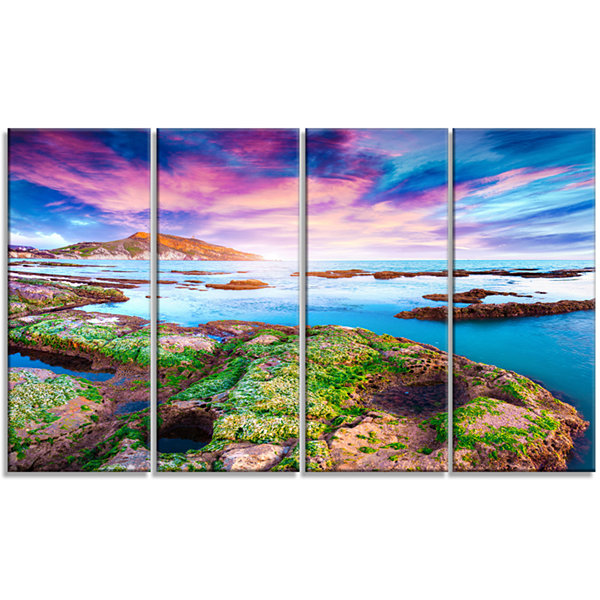 Designart Sunset From The Giallonardo Beach Landscape Canvas Art Print - 4 Panels