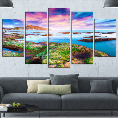 Designart Sunset From The Giallonardo Beach Landscape Canvas Art Print - 5 Panels