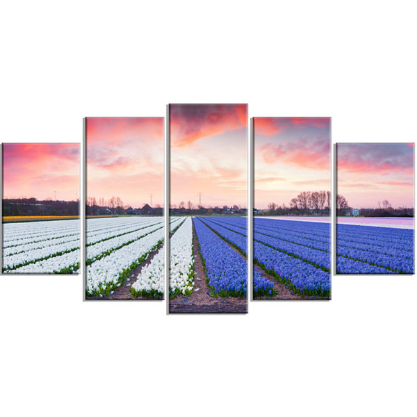 Design Art Fields Of Blooming Hyacinth Flowers Landscape Wrapped Canvas Art Print - 5 Panels