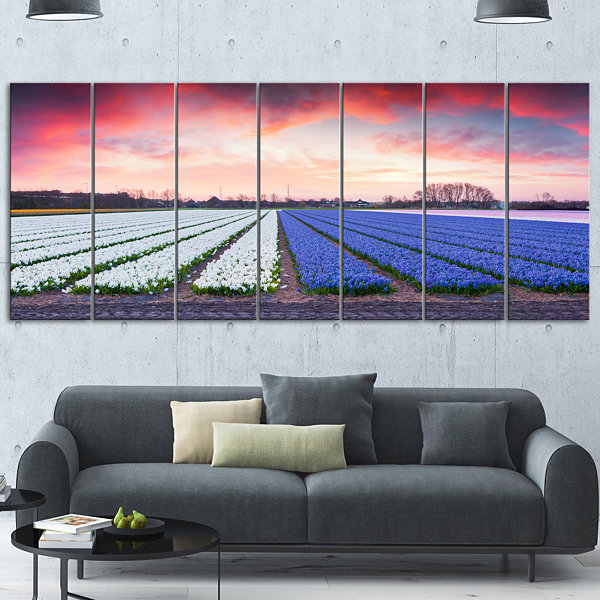 Design Art Fields Of Blooming Hyacinth Flowers Landscape Canvas Art Print - 6 Panels