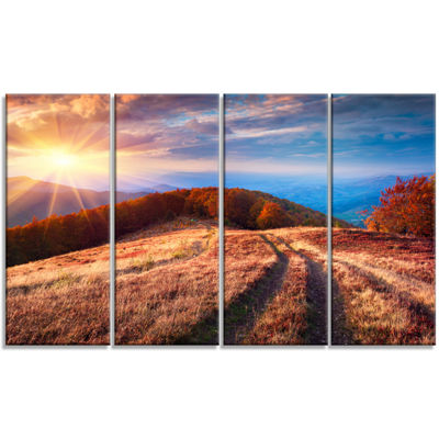 Designart Beautiful Carpathian Mountains LandscapeCanvas Art Print - 4 Panels