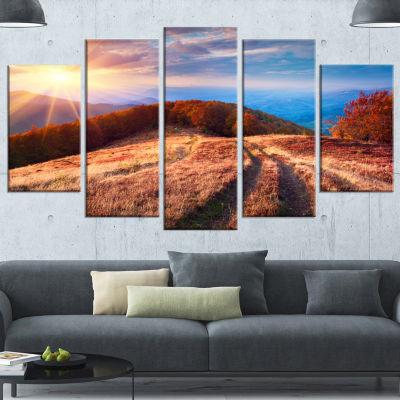 Designart Beautiful Carpathian Mountains LandscapeWrapped Canvas Art Print - 5 Panels