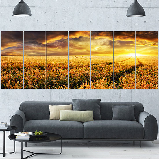 Designart Amazing Sunset Over Yellow Field Landscape Canvas Art Print 5 Panels
