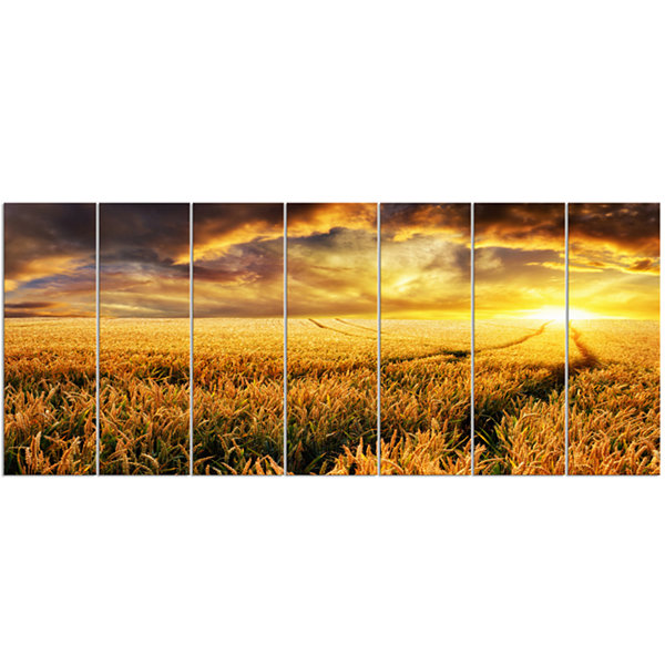 Designart Amazing Sunset Over Yellow Field Landscape Canvas Art Print - 7 Panels