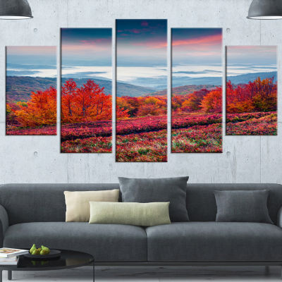 Designart Autumn In The Carpathian Mountains Landscape Canvas Art Print - 4 Panels