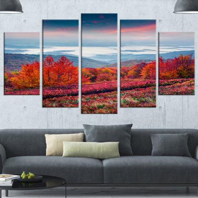 Designart Autumn In The Carpathian Mountains Landscape Wrapped Canvas Art Print - 5 Panels