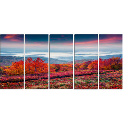 Designart Autumn In The Carpathian Mountains Landscape Canvas Art Print - 5 Panels