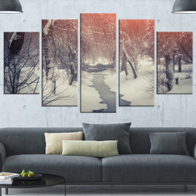 Beautiful Snowfall In City Park Landscape Canvas Art Print - 4 Panels