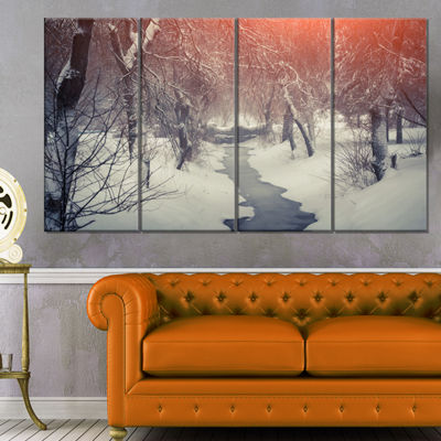 Designart Beautiful Snowfall In City Park Landscape Canvas Art Print - 4 Panels