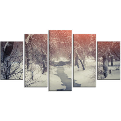 Designart Beautiful Snowfall In City Park Landscape Wrapped Canvas Art Print - 5 Panels