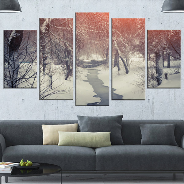 Design Art Beautiful Snowfall In City Park Landscape Canvas Art Print - 5 Panels