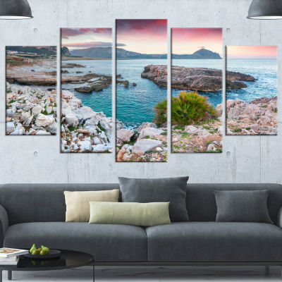 Designart Nature Reserve Monte Cofano Landscape Wrapped Canvas Art Print - 5 Panels
