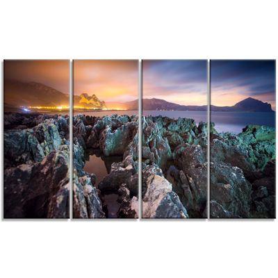 Designart Beautiful Night View Of Coast LandscapeCanvas Art Print - 4 Panels