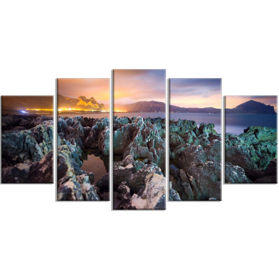 Beautiful Night View Of Coast Landscape Wrapped Canvas Art Print - 5 Panels