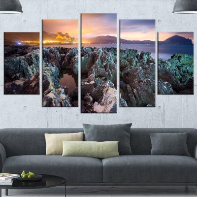 Designart Beautiful Night View Of Coast LandscapeWrapped Canvas Art Print - 5 Panels