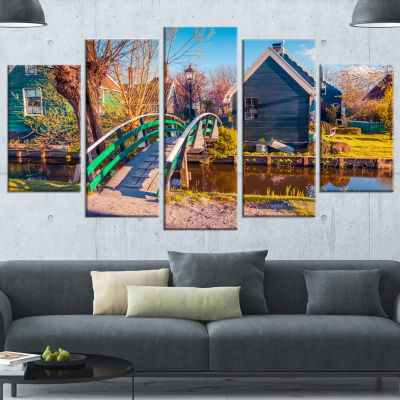 Designart Dutch Buildings In Zaanstad Village Landscape Canvas Art Print - 5 Panels