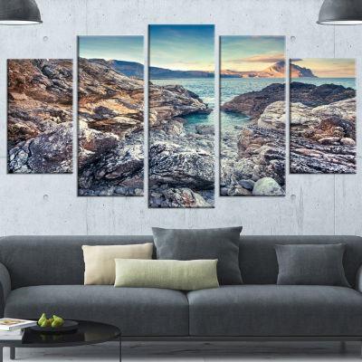 Rocky Reservoir In Monte Cofano Large Landscape Wrapped Canvas Art Print - 5 Panels