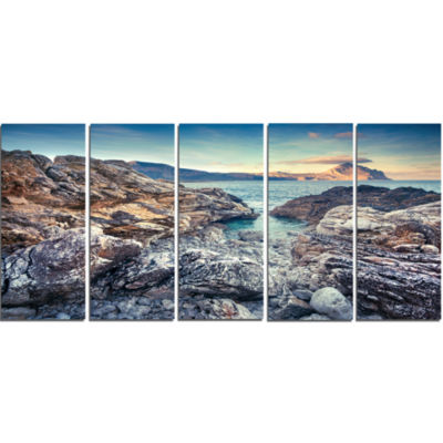 Rocky Reservoir In Monte Cofano Large Landscape Canvas Art Print - 5 Panels