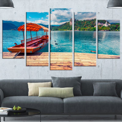 Boat In Lake Bled In Julian Alps Large Landscape Wrapped Canvas Art Print - 5 Panels
