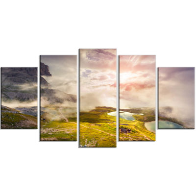 Designart Sunrise On The Lakes Del Piani Large Landscape Wrapped Canvas Art Print - 5 Panels