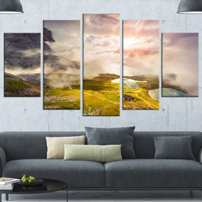 Designart Sunrise On The Lakes Del Piani Large Landscape Canvas Art Print - 5 Panels