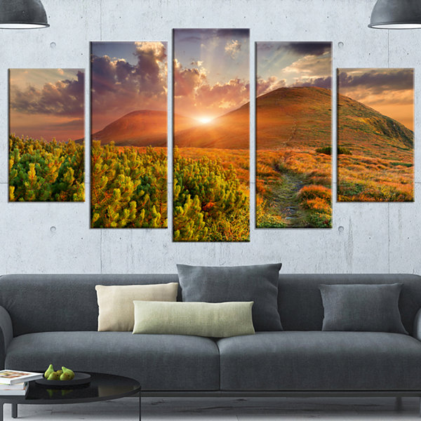 Designart Colorful Fall Landscape In Mountains Large Landscape Canvas Art Print - 5 Panels