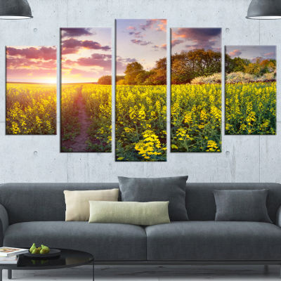 Fantastic Yellow Field At Sunset Large Landscape Wrapped Canvas Art Print - 5 Panels