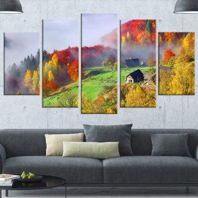 Colorful Autumn Landscape In Mountains Large Landscape Wrapped Canvas Art Print - 5 Panels