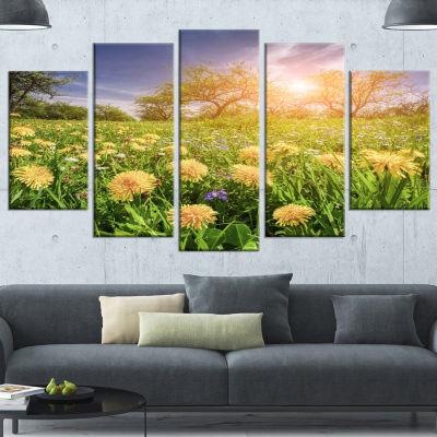 Designart Blossom Dandelions In Green Garden LargeLandscapeCanvas Art Print - 4 Panels