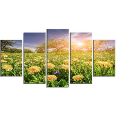 Blossom Dandelions In Green Garden Large LandscapeWrapped Canvas Art Print - 5 Panels