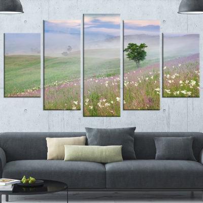 Designart Foggy Summer Morning In Mountains LargeLandscapeWrapped Canvas Art Print - 5 Panels