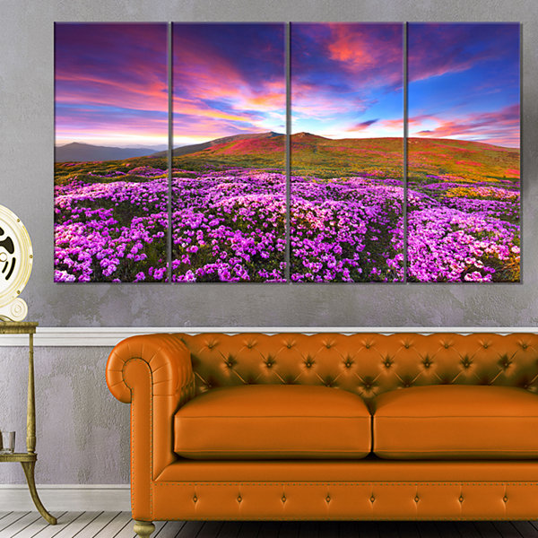 Designart Magic Pink Rhododendron Flowers Large Landscape Canvas Art Print - 4 Panels