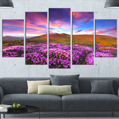 Designart Magic Pink Rhododendron Flowers Large Landscape Wrapped Canvas Art Print - 5 Panels