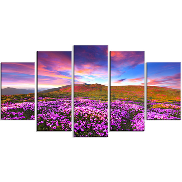 Design Art Magic Pink Rhododendron Flowers Large Landscape Wrapped Canvas Art Print - 5 Panels