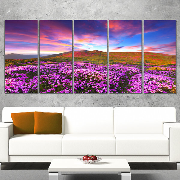 Designart Magic Pink Rhododendron Flowers Large Landscape Canvas Art Print - 5 Panels