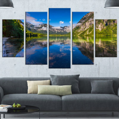 Designart Bohinj Lake In Triglav National Park Large Landscape Canvas Art Print - 4 Panels