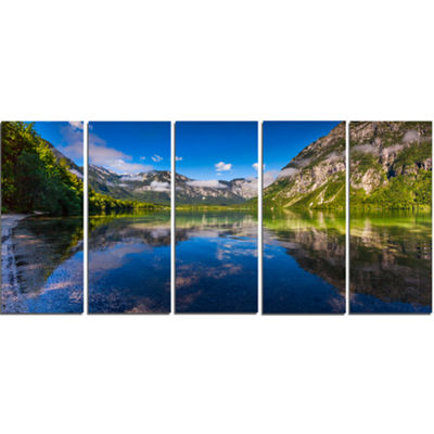 Designart Bohinj Lake In Triglav National Park Large Landscape Canvas Art Print - 5 Panels