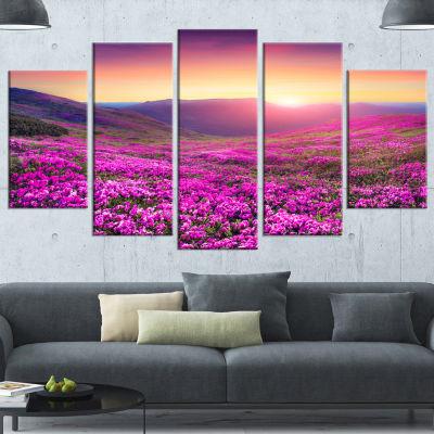 Design Art Purple Rhododendron Flowers In Mountains Large Landscape Canvas Art Print - 5 Panels