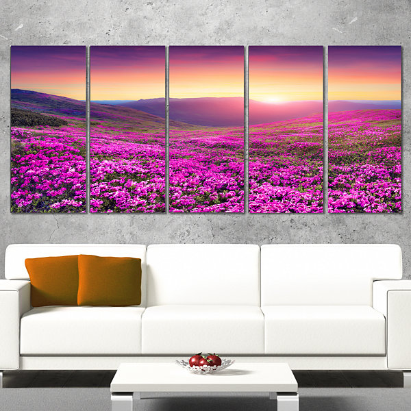 Designart Purple Rhododendron Flowers In MountainsLarge Landscape Canvas Art Print - 5 Panels