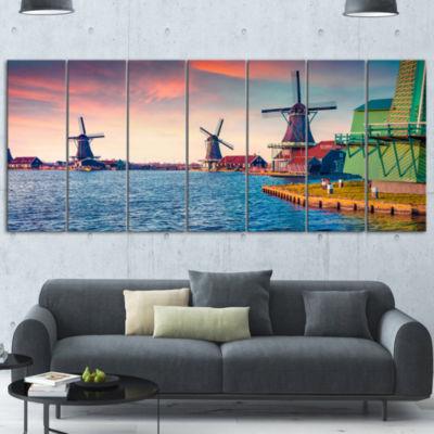 Designart Zaandam Mills On Water Channel Large Landscape Wrapped Canvas Art Print - 5 Panels