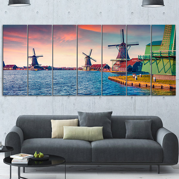 Design Art Zaandam Mills On Water Channel Large Landscape Canvas Art Print - 6 Panels