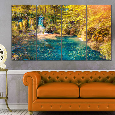 Designart Plitvice Lakes National Park Large Landscape Canvas Art Print - 4 Panels