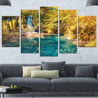 Designart Plitvice Lakes National Park Large Landscape Wrapped Canvas Art Print - 5 Panels